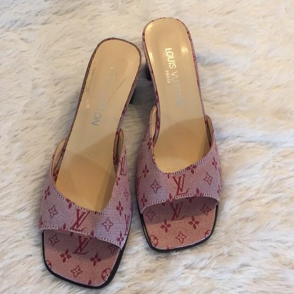 002752d12eab4 Louis Vuitton Shoes - Louis Vuitton pink logo vintage heel sandal